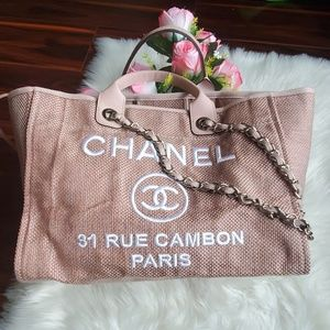 CHANEL Straw Lurex Large Deauville Tote Pink